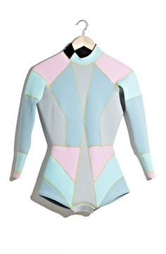 Designer wetsuits??? As much as I don't like the idea, it is very very cute. Cynthia Rowley Colorblock Wetsuit available at #Nordstrom