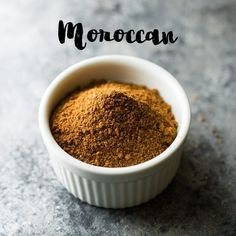 Homemade Moroccan Spice Blend mixed up in a white bowl