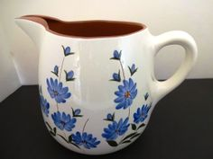 Stangl Pottery Chicory Ice Lip Water Pitcher 2 Quart 50's 60's Blue Flower Mint Condition