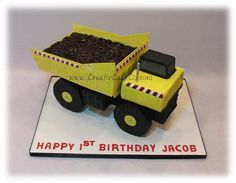 3D yellow dump truck cake by Creative Cake Co.