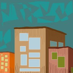 Buildings 1 Painting Print on Wrapped Canvas