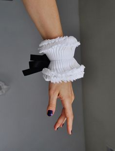 Couture hand made hand pleated detachable cuffs/White Ruffled cuffs with black satin ribbon/High cuf Fabric Bracelets, Cuff Bracelets, Ruffle Collar, Neck Piece, Fashion Details, Fashion Ideas, Ribbon Bows, Black Satin, Beautiful Outfits