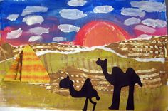 Egyptian Landscape Collage Africa Egypt multi-cultural elementary art project