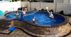 We sell high quality semi-inground pools in Suffolk and Nassau counties (Long Island) which are designed to go semi inground and have a lifetime warranty in the ground. Above Ground Pool Landscaping, Above Ground Pool Decks, Backyard Pool Landscaping, Small Backyard Pools, Backyard Pool Designs, Above Ground Swimming Pools, Small Pools, Swimming Pools Backyard, In Ground Pools