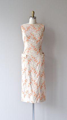 Feuilles de Fuite dress vintage 1950s dress linen by DearGolden