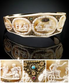 Shell cameo diadem presented by Joachim Murat to Empress Josephine, c. 1804-15. From the Foundation of Napoleon.