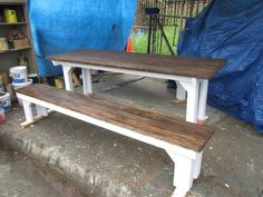cute picnic table for dining room!