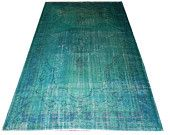OVERDYED Vintage Turquoise - Green Blue Turkish Rug, Custom Sizes, Free Delivery, rug shown: 215x330 cm (7x10.9 ft)