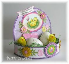 INSTRUCTIONS/TEMPLATE YOU CAN MAKE CUT FILE FROM Avec explications et schéma... Easter spring display eggs holder gift decoration treat