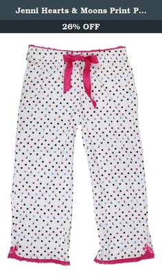 82411ed3e902 Jenni Hearts & Moons Print Pajama Bottoms (Small, Pink Sleepy). Jenni by