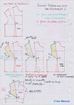 Methode : Comment déplacer : une pince ! Techniques Couture, Sewing Techniques, Sewing Hacks, Sewing Tutorials, Corsage, Couture Main, Costumes Couture, Modelista, Easy Sewing Patterns