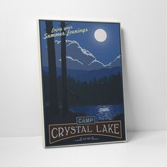 """Camp Crystal Lake (20"""" x 16"""") Steve Thomas has been creating graphics and illustrations for over a decade. His love for vintage posters, propaganda and product art from the early 20th century, as well as an interest in retro-futuristic art, led him to develop his signature style. Equal parts vintage and contemporary, these poster art canvases are the perfect finishing touch for your space.  -  Click on This Link & get a $10 Credit Immediately!!!  https://www.touchofmodern.com/i/7HQHUEEP"""