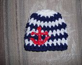Anchor Beanie Any Colors Crochet Props 3-6 Mos Baby Photo Prop Hat Hats Sailor Navy Naval military patriotic