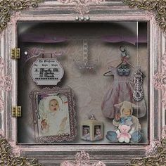 "Baby Ashes' ""Shabby Shadowbox""  Our daughter as an Infant...    Many Thanks for Taking a Peek...!"