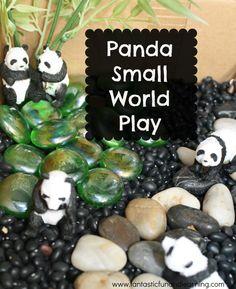 Pretend Play Invitation to Play: Panda Small World Sensory Play - we definitely have the pandas to pull this one off! Sensory Boxes, Sensory Table, Sensory Play, Infant Activities, Activities For Kids, Indoor Activities, Sensory Activities, Panda Habitat, Felt Play Mat