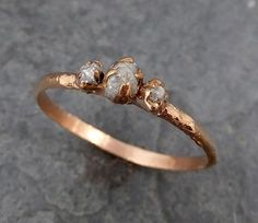 Dainty Diamond Engagement Stacking ring Wedding anniversary Rose Gold 14k Rustic