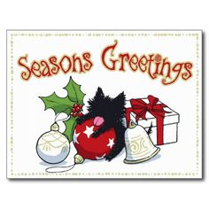 Decorations and Black Kitten (Season's Greetings) Post Card #Holiday #Christmas #Cat #holidaycards #christmascards #Card