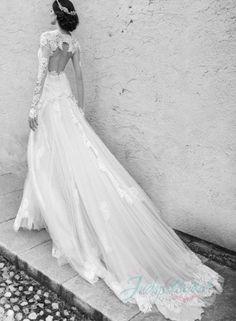 beautiful 2015 lace long sleeves keyhole back bridal dress
