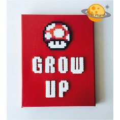 Grow Up - Mario perler beads on canvas by pixel_planet_