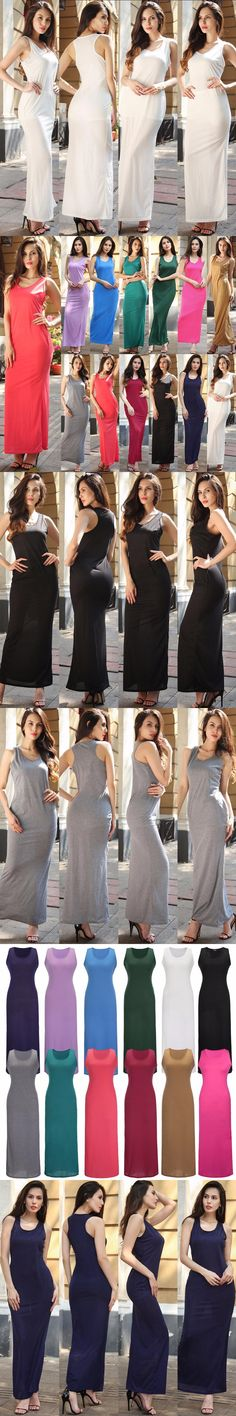 Sexy Sleeveless Solid Tank Scoop Neck Ankle Length Women Dress Ladies Celebrity Party Dress Maxi Summer Beach Bodycon Dress