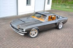 1967 Ford Mustang Shelby – Serious As A Heart Attack, 67 mustang fastback gt500 grey with camel butterscotch interior. custom painted console door panels, shelby ridler contender. brown tan orange PROJECTS | JF Kustoms.