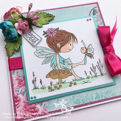 Birthday card with one of the brand new digital images from LOTV due to be released tomorrow. I coloured the image with copic pens a. Birthday Cards, Happy Birthday, Copic Pens, Butterfly Fairy, Stamp Sets, Digital Image, A5, Fairies, Lily