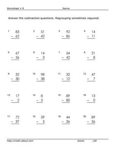 Worksheets for 2-Digit Subtraction With Regrouping: Worksheet # 8