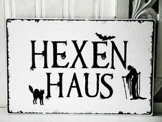 XL 26x17cm Shabby Vintage Schild HEXENHAUS von SCHILDERMANUFAKTUR   ---  homestyle-accessoires  --- auf DaWanda.com