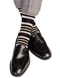 Dapper Classics Black with Ash and Tan Stripe Cotton Linked Toe Sock