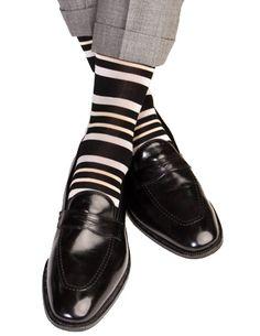 Dapper Classics Black with Ash and Tan Stripe Cotton Linked Toe Sock
