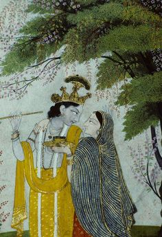 Divine Lovers in Moonlight, Kangra style, 1810, Chamba Museum, Himachal Pradesh, India