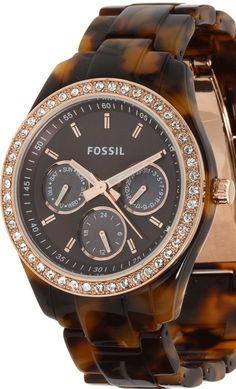 Fossil Stella Faux Tortoise Quartz Multifunction Brown Dial Women's Watch ES2923