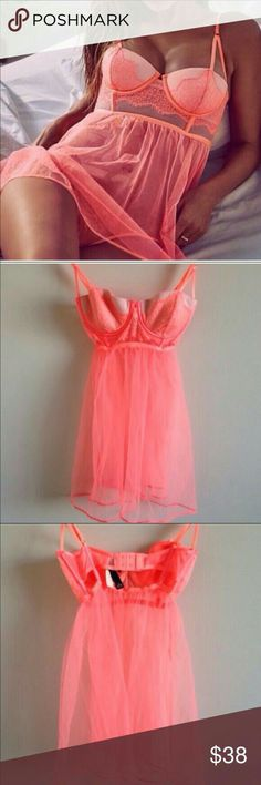 Ann Summers Beautiful Sheer Black or Baby Pink Fifi Love Peep Hole Babydoll