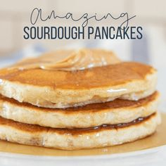 Amazing fluffy and light sourdough pancakes! Get the recipe now! Learn to make a sourdough starter and start making these now. You will never want regular pancakes again, and they are so easy! Sourdough Pancakes, Sourdough Recipes, Banana Pancakes, Fluffy Pancakes, Mug Recipes, Cooking Recipes, Hungry Jack Pancake Mix, Eat Breakfast