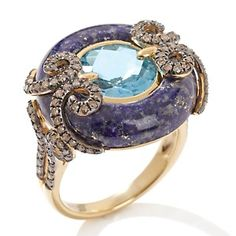 Fine Jewelry with Carol Brodie Lapis, Blue Topaz and Diamond Vermeil Ring - unique jewelry