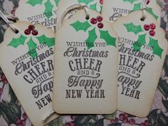 Christmas Cheer and a Happy New Year~  Holiday Tags by HeartsCalling on ETSY