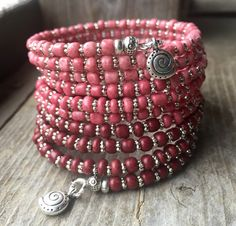 Modern Salmon & Red Ombré Multi Strand Memory Wire Coil Bracelet With Swirl Charms