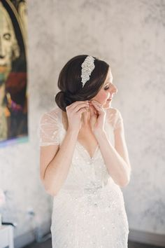Bride wearing Jenny Packham | Lauren Fair Photography | See the wedding on SMP: http://www.StyleMePretty.com/mid-atlantic-weddings/2014/03/13/gold-sparkly-kimmel-center-wedding/