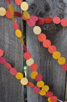 Colorful Paper Garland - Circles - Red Yellow Gold - Wedding Decoration - 20' long. $18.00, via Etsy.