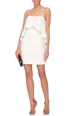 White Virgin Wool Strapless Dress With Ruffle by Antonio Berardi Now Available on Moda Operandi