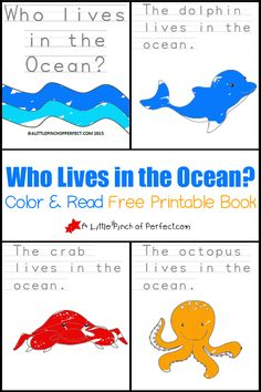Who Lives in the Ocean? Color and Read Printable Book for Early Readers Ocean Activities, Preschool Activities, Vocabulary Activities, Ocean Lesson Plans, Summer Lesson, Ocean Projects, Ocean Unit, Ocean Crafts, Ocean Colors