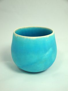 Handmade large turquoise blue earthenware cup by AtwaterCeramics - Olia Lamar