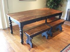 farm table, like the colors, like the short benches.  Wish the benches had turned legs like the table.