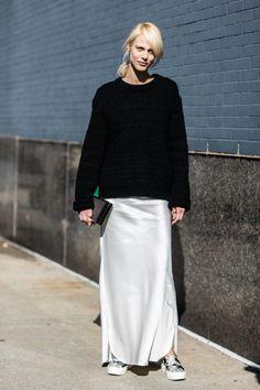 long light skirt and black sweater, perfect fall uniform .