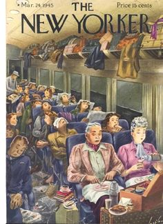 Constantin Alajalov, [cover art] Color Illustration, Print art (man and woman having lunch on train) Authentic oringial vintage, (cover only) 1945 the New Yorker Magazine Art The New Yorker, New Yorker Covers, Book And Magazine, Magazine Art, Magazine Covers, New Yorker Cartoons, Old Magazines, Vintage Magazines, Capas New Yorker