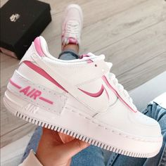 Shop Women's Nike White Pink size Various Sneakers at a discounted price at Poshmark. Description: New with box Nike Air Force shadow newest style. Jordan Shoes Girls, Girls Shoes, Shoes Women, Souliers Nike, Nike Free Run, Nike Shoes Air Force, Basket Mode, Cute Sneakers, Women's Sneakers