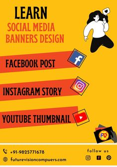 Learn to create banners for #facebookpost #youtubethumbnail #Festivalbanner #posterdesign #instagramstory #socialmediachannel. Now its very easy to create any banners..#futurevisioncomputers #vesu #graphicdesign #compueterclass #graphicdesignintitute