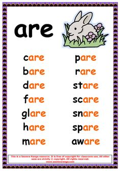 Phonics Poster – are Words 1 Phonics Reading, Teaching Phonics, Kindergarten Reading, Teaching Reading, Phonics Chart, Phonics Worksheets, Phonics Activities, Phonics Rules, English Phonics
