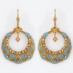La Vie Parisienne Jewelry   Vintage French Gold & Turquoise Earrings