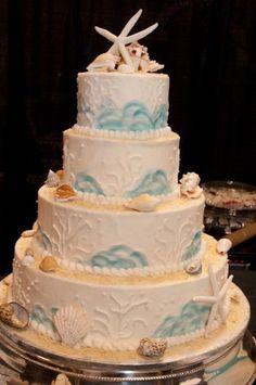 White Cake with a Beach Theme